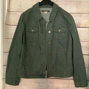 Adriana Denim Chambray Jacket Olive Green Pockets